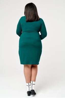 dzianinowa sukienka plus size butelkowa zieleń