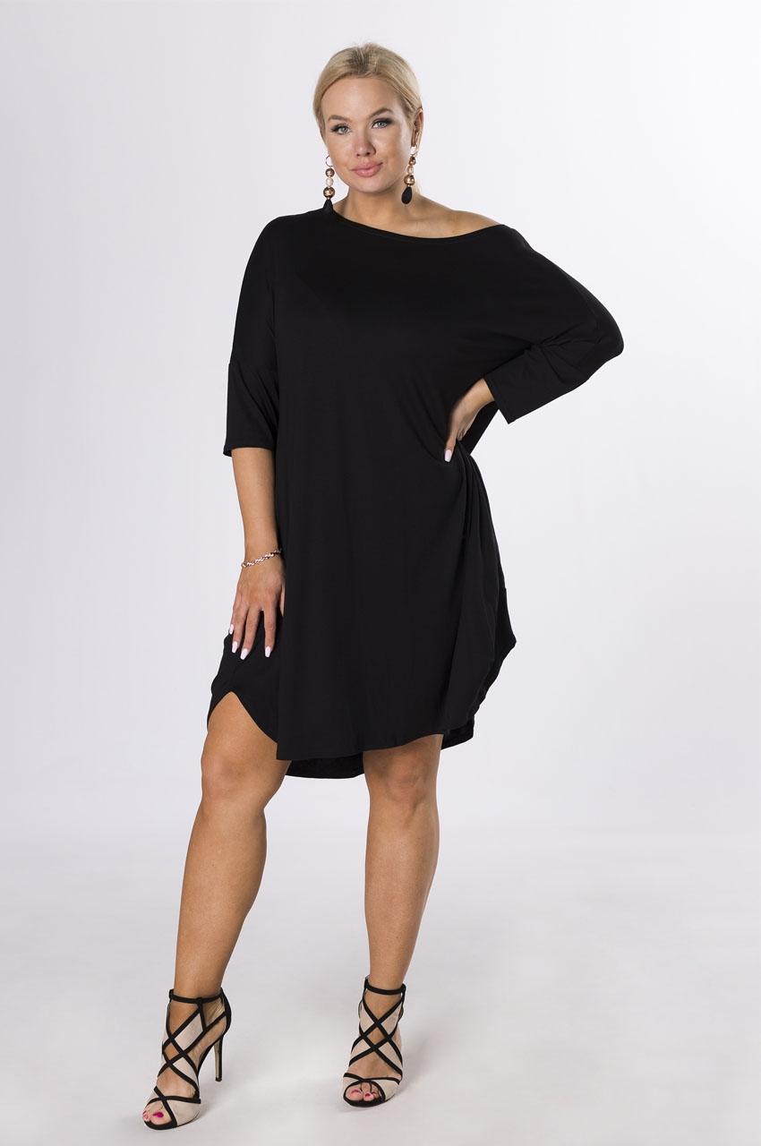 dzianinowa sukienka plus size czarny