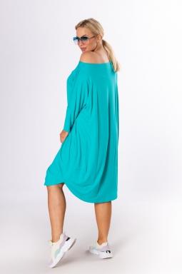 luźna turkusowa sukienka plus size z kieszeniami