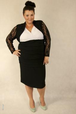 Sukienka XXL Alessandra biało czarna i bolerko Victoria czarny