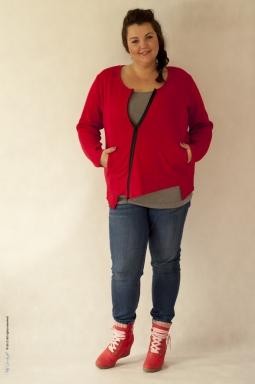Sweter plus size 001 czerwony