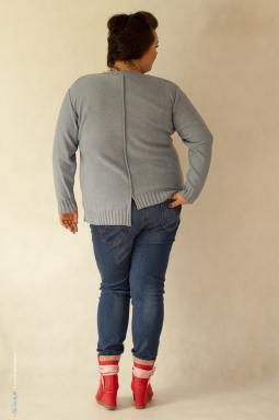 Sweter plus size 004 szary