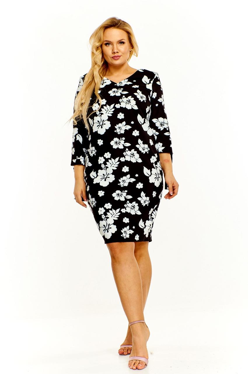 Czarna sukienka xxl w białe kwiaty
