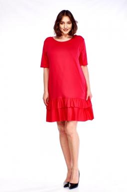 sukienka plus size z falbaną czerwony