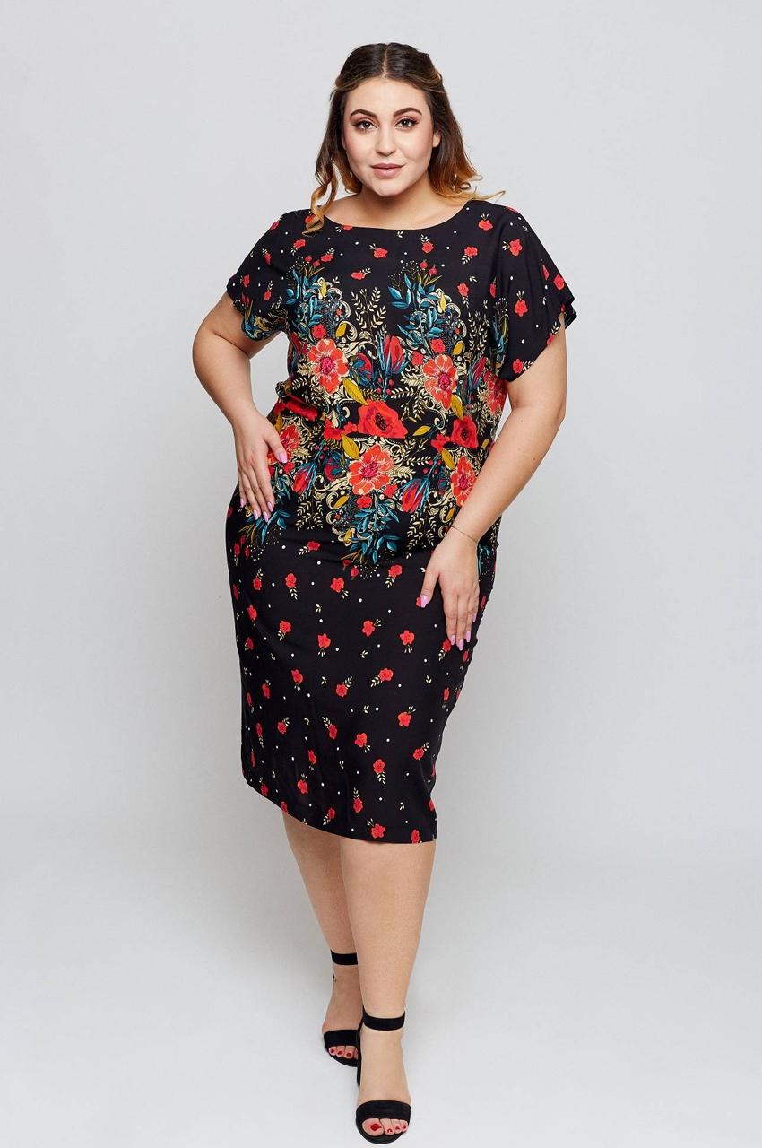 sukienka plus size wzór czarna