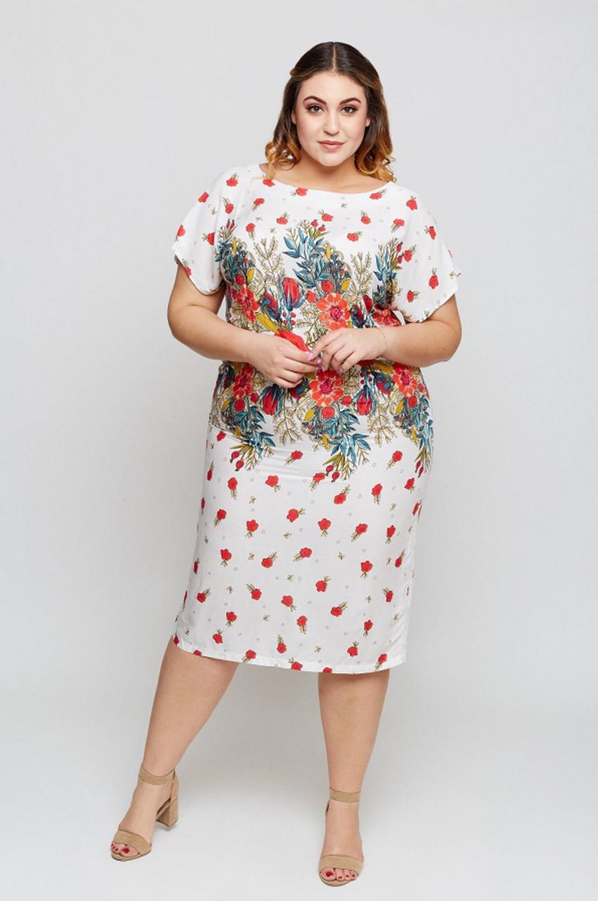 sukienka plus size wzór ecru