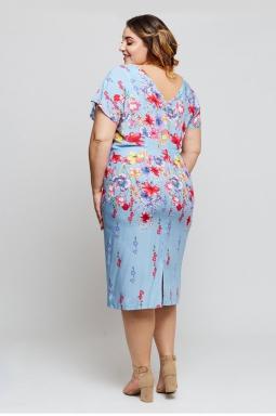 sukienka plus size wzór niebieski