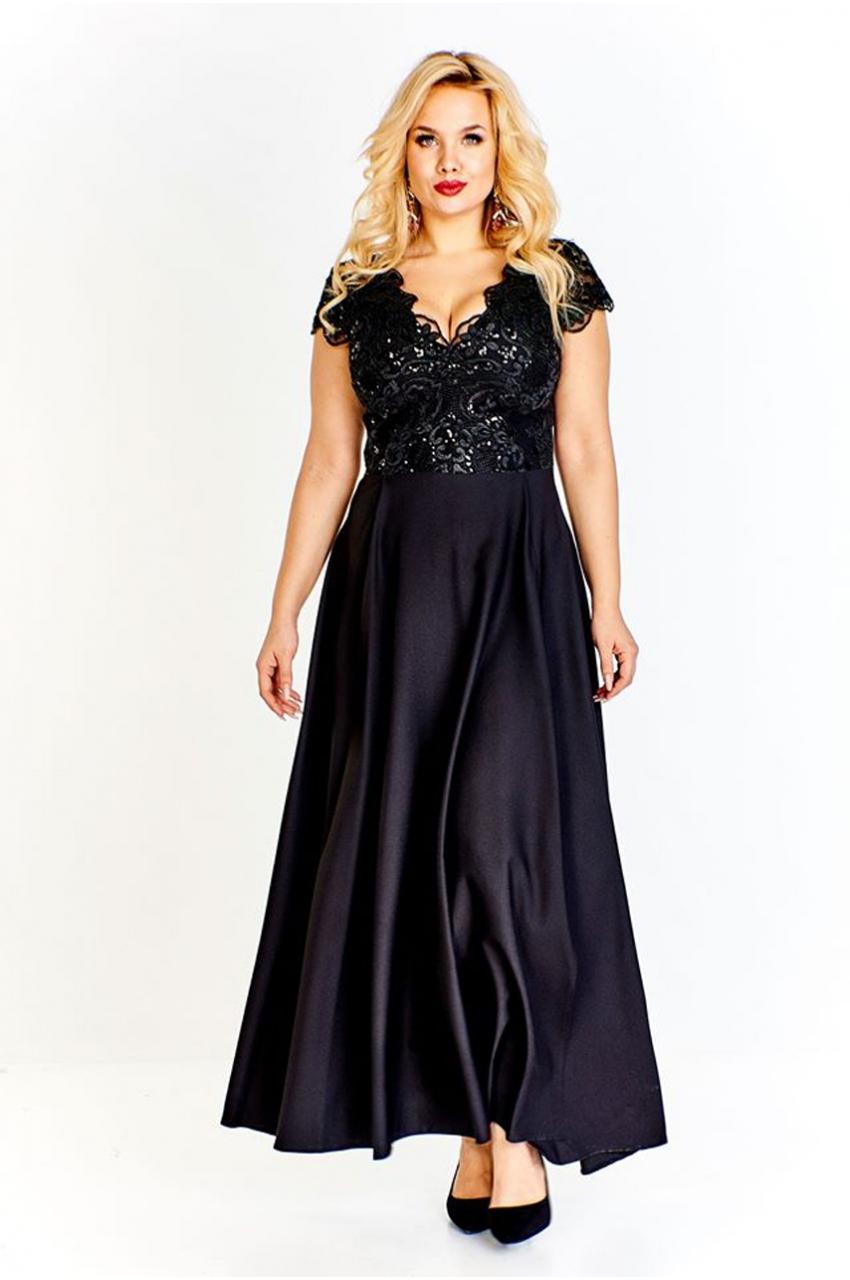 sukienka dla puszystych wieczorowa czarny