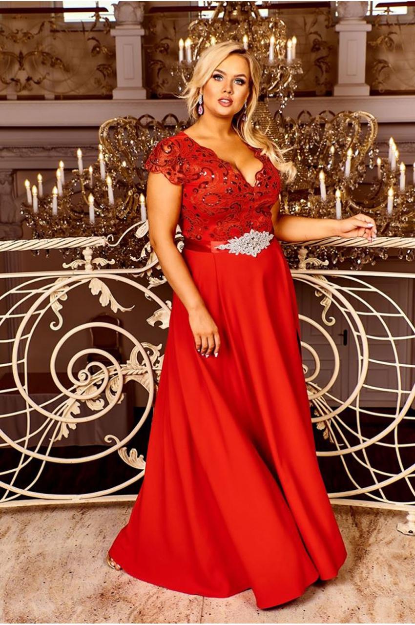 wieczorowa suknia balowa plus size czerwony
