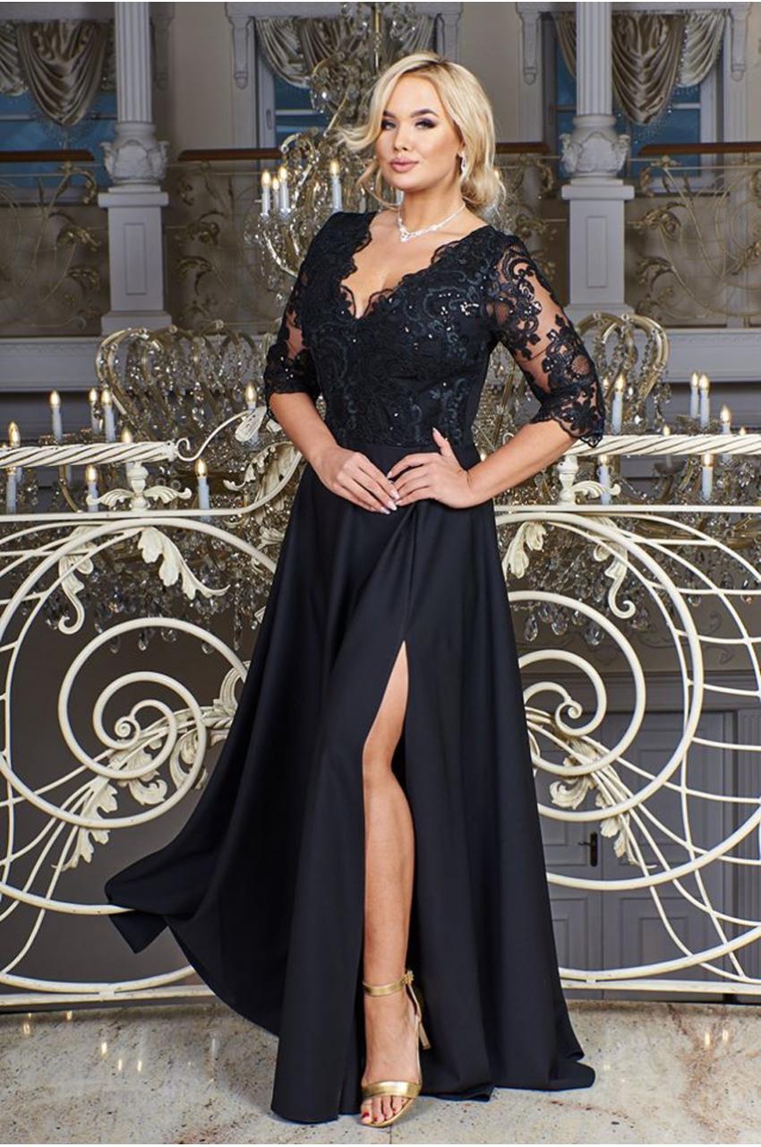 suknia plus size maxi czarny