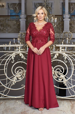 suknia plus size maxi burgund