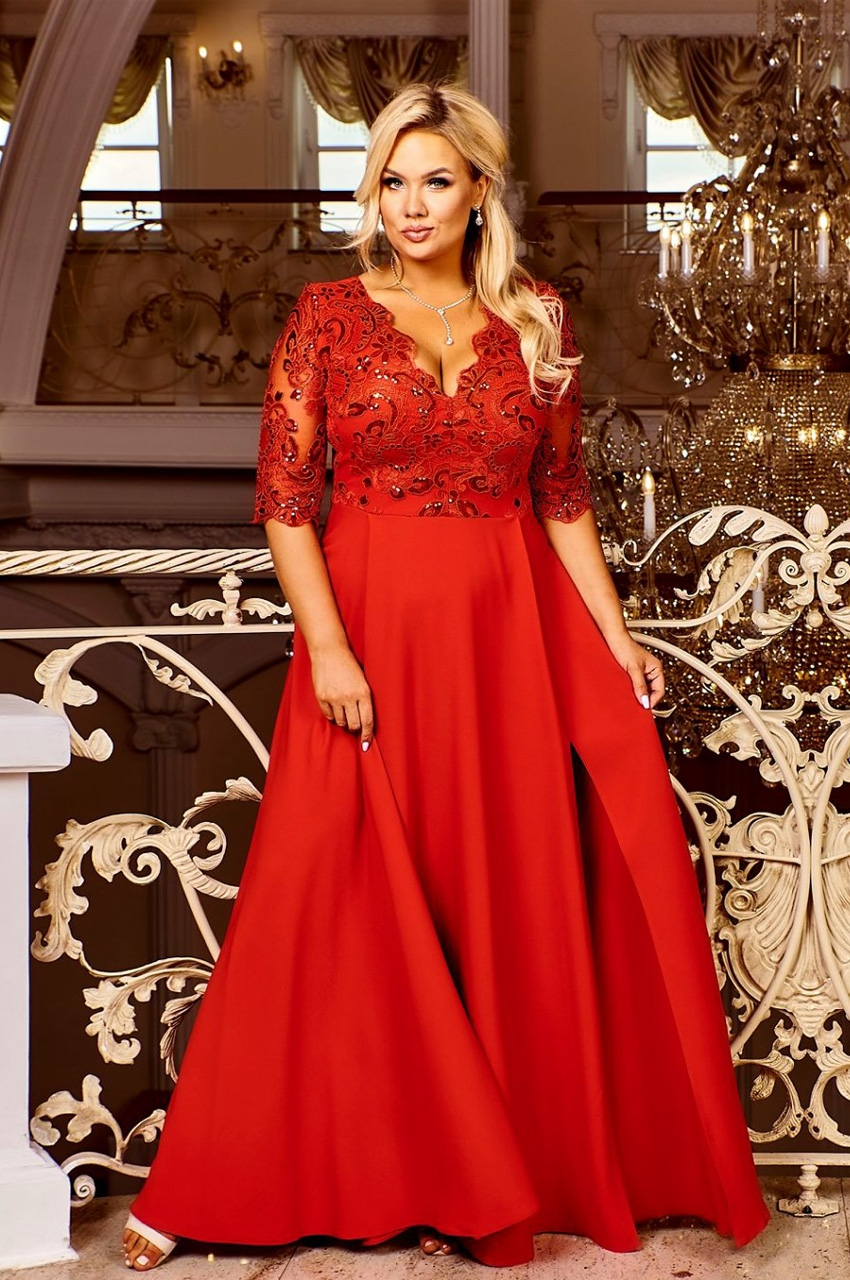wieczorowa sukienka maxi plus size czerwona