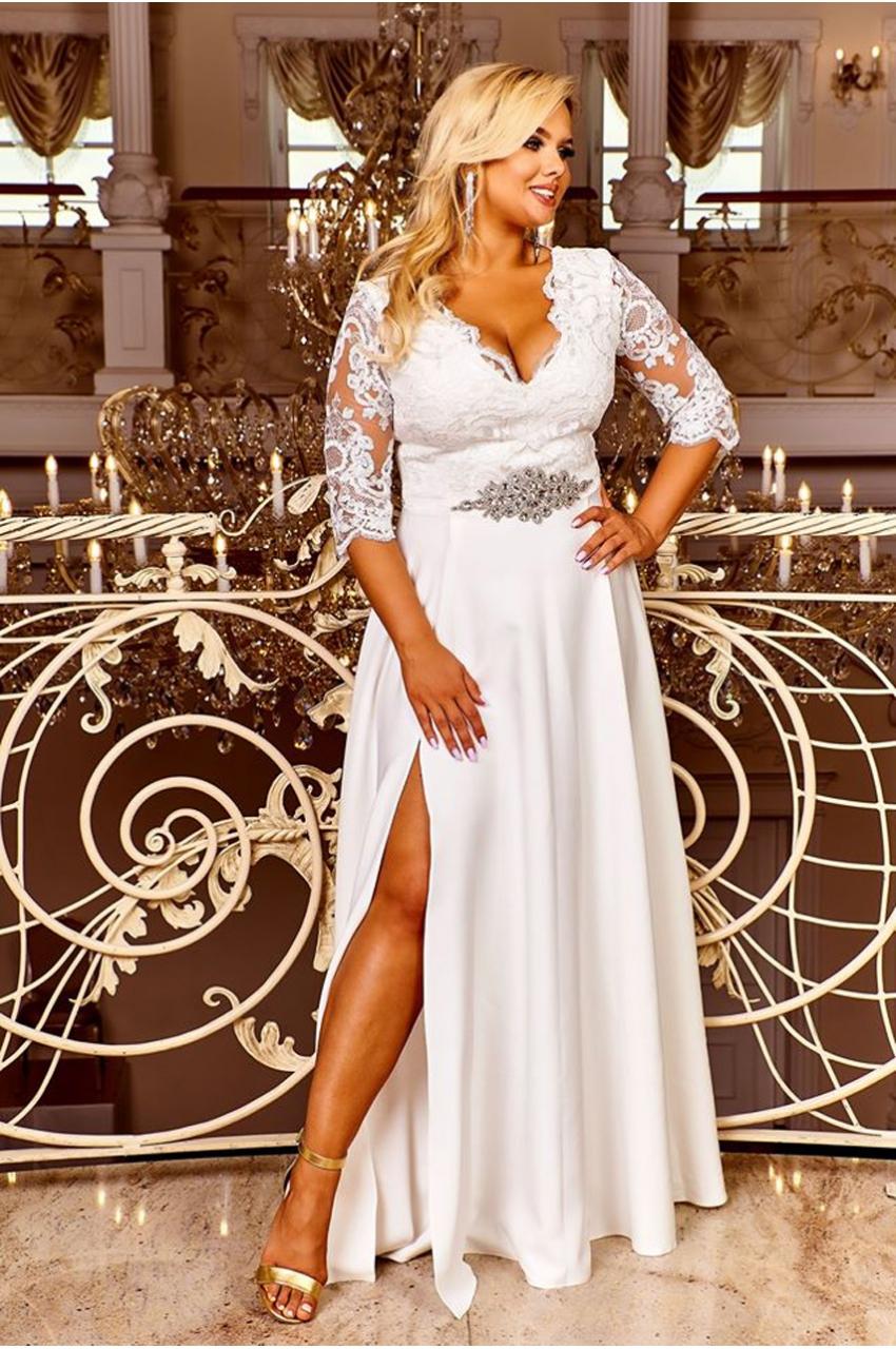 suknia plus size ślubna maxi z gipiurą