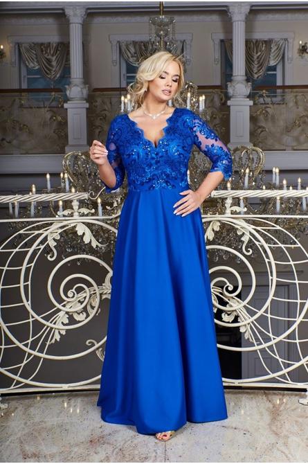 suknia plus size wieczorowa maxi z gipiurą niebieski