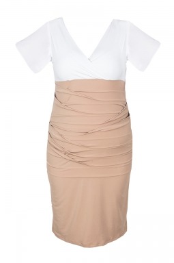 Sukienka XXL Alessandra biało - beżowa