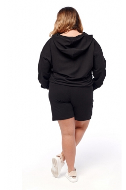 dresowy dres z bluzą plus size czarny